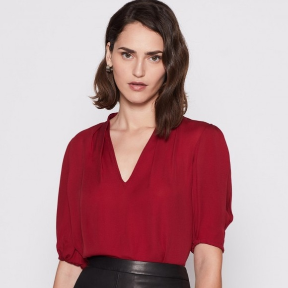 4f4f2f4e60579 GUC Red Joie Ance blouse with puff sleeves